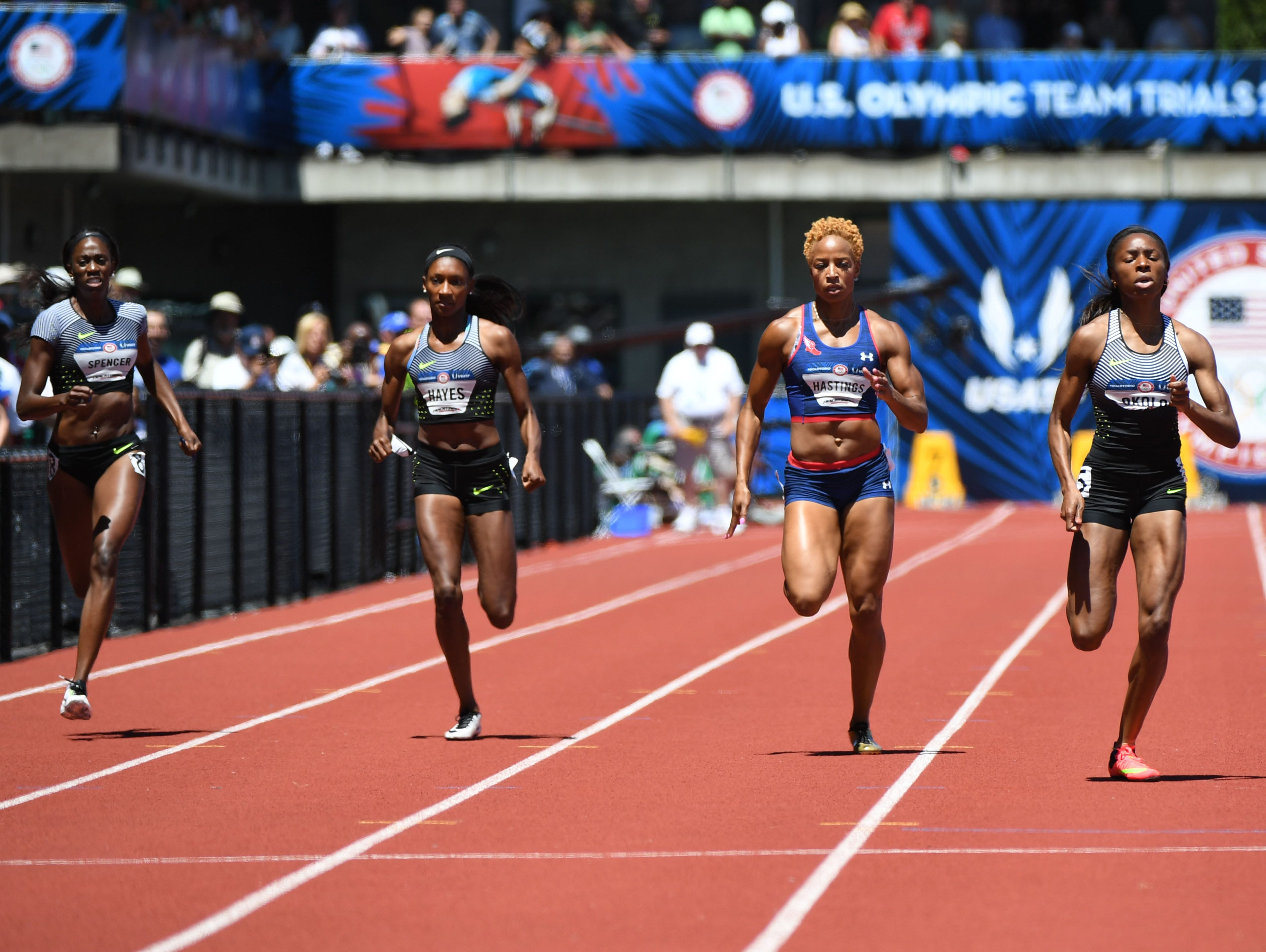 Jul 2, 2016; Eugene, OR, USA; Ashley Spencer (far left) and Natasha Hastings (middle) and Courtney Okolo (right) compete during the women's 400m semifinals in the 2016 U.S. Olympic track and field team trials at Hayward