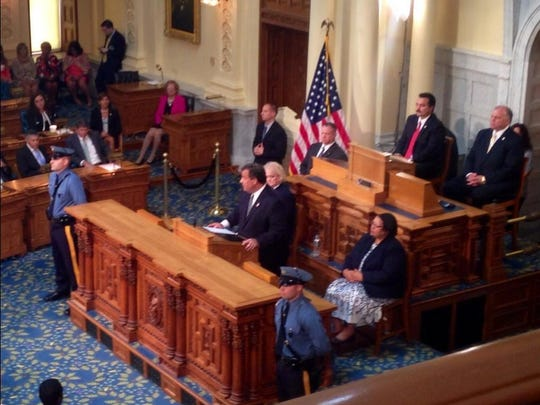 Gov. Chris Christie addresses both houses of the Legislature on July 31, 2014, ahead of a special session called to deal with a bail reform package.