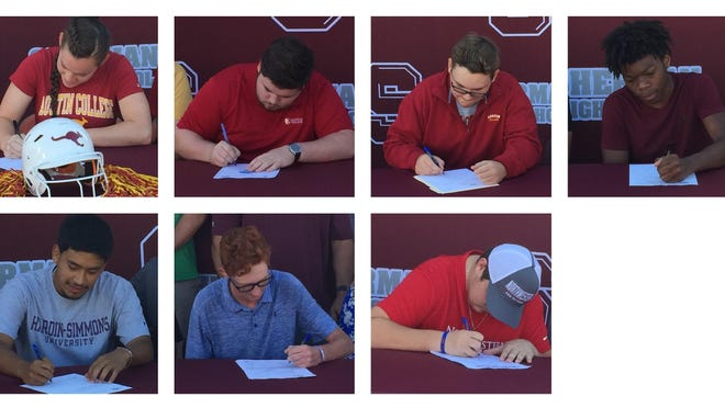 From top left, clockwise: Ashley Boatright, James Drenner, Cole Gibson, Anthony Holland, Tyler Smith, Parker Samuelson and Jose Nandin.
