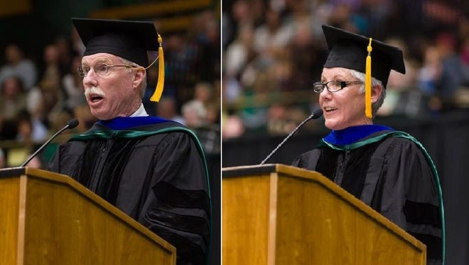 David and Paula Edwards addressed the CSU College of Liberal Arts graduates at the Spring 2014 Commencement after receiving their honorary doctorates on May 17.