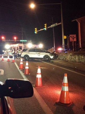 A trooper pursued a stolen vehicle through Red Lion into Windsor Township. The driver of the stolen vehicle ran a red light at the intersection of Freysville and Windsor roads, and a minor crash occurred between the state police vehicle and another vehicle that was not the stolen vehicle, police said.