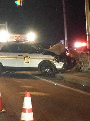 A state police vehicle crashed while in pursuit of a stolen vehicle in Windsor Township on Thursday night.
