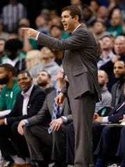 Boston Celtics head coach Brad Stevens reacts on the