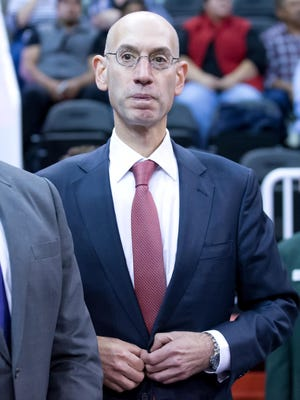 NBA Commissioner Adam Silver attends a game in Salt Lake City on Oct. 29.