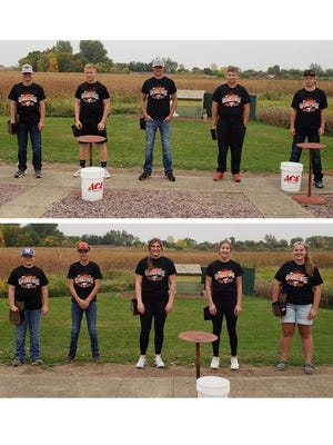 (top) Sleepy Eye FFA Team One members who shot for the State Trapshooting Event sponsored by Marshall FFA included, from left: Caleb Seuss, Carter Swenstad, Jake Price, Josh Sellner, and Jack Windschitl. (Bottom) Team Two members included, from left: Nathan Rathman, Winsten Nienhaus, McKenna Strong, Jade Sellner, and Emma Fischer.