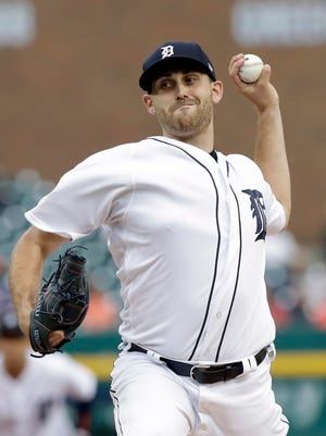 Tigers starting pitcher Matthew Boyd throws during the first inning against the Yankees, Tuesday, Aug. 22, 2017 in Detroit.