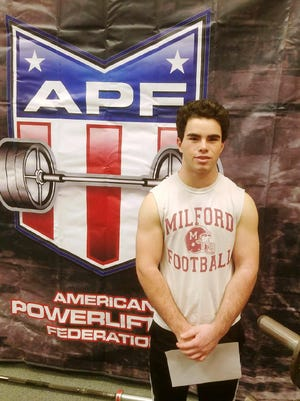 Milford sophomore Jacob Ogg recently set an American Powerlifting Federation record when he bench pressed 300 pounds.