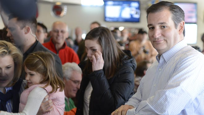 Republican presidential Sen. Ted Cruz arrives at The Rite Place in Bellevue Friday. Cruz and his family had Friday fish and met with diners.