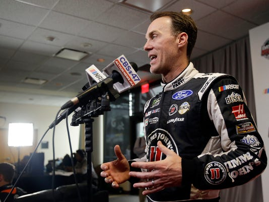 Kevin Harvick speaks to reporters at a NASCAR Daytona 500 media day at Daytona International Speedway, Wednesday, Feb. 22, 2017, in Daytona Beach, Fla. (AP Photo/John Raoux)