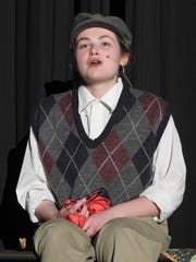 """Kenzie Potter as James sings a song about losing his parents from """"James and the Giant Peach"""" playing at Coshocton High School."""