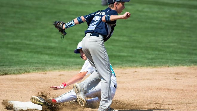Vermont's Nolan Antonicci awaits the call at second base after a fielder's choice in Saturday's 11-12-year-old Little League New England regional tournament.