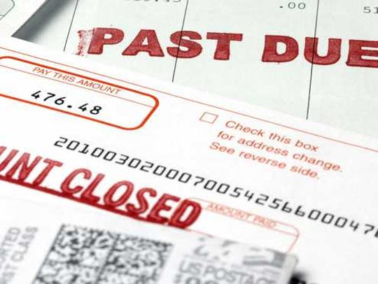 Debt past due account closed notice