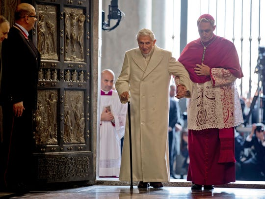 Pope Emeritus Benedict XVI enters St. Peter's Basilica