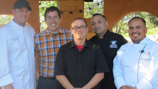 Chefs for the 2017 Dress the Child dinner are, left to right, Luke Roberts, Double Eagle; Russell Hernandez, Salud! de Mesilla; Eric Payan, Picacho Peak Brewery/Grapevine Plaza; Arturo Tovar, De La Vega's Pecan Grill and Brewery; and Gabriel Hernandez, Good Samaritan Society.