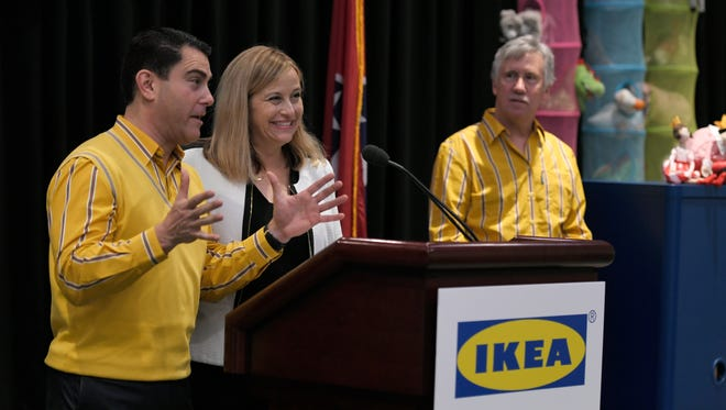 Ikea Expansion Public Affairs Manager Joseph Roth, left, and Nashville Mayor Megan Barry announce that Ikea is submitting plans for a Nashville store during a news conference at Music City Center on Thursday, May 25, 2017.