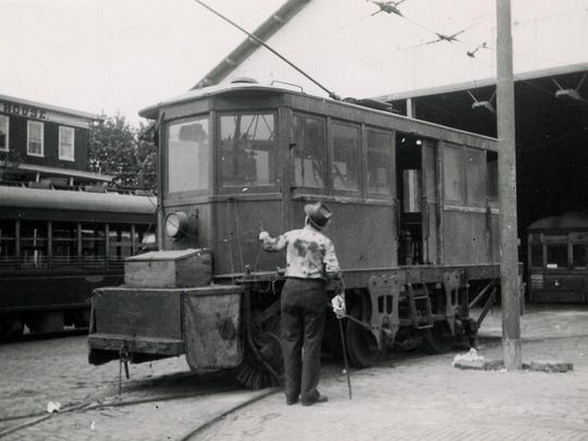 A track sweeper used in Wilmington in late 1800s to clear trolley tracks.
