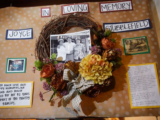 A memorial of Joyce Stubblefield at Pancake Pantry,