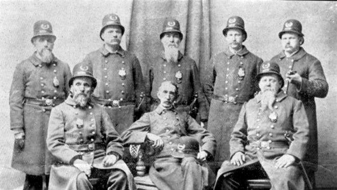 Staunton's police force in 1896. Police Chief James H. Waters is seated, center.