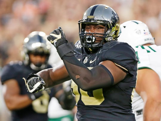 Keiwan Jones of Purdue reacts after stopping A.J. Ouellette of Ohio on Sept. 8, 2017, at Ross-Ade Stadium.