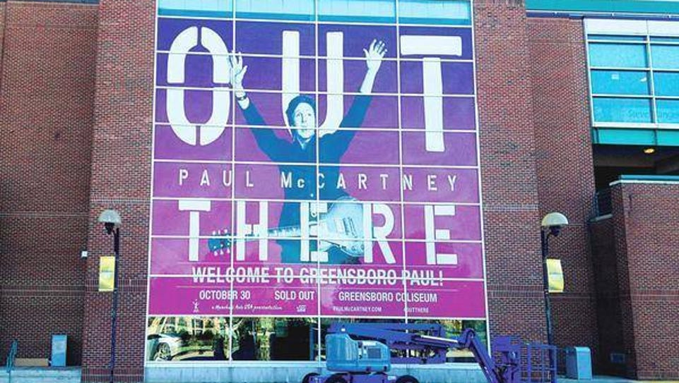 Sign welcoming Paul McCartney at the Greensboro Coliseum.