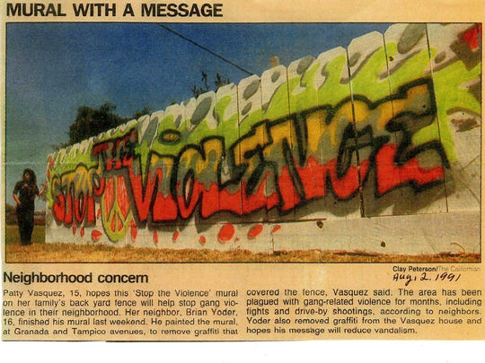 """Brian Yoder helped paint this """"Stop the Violence"""" mural out of frustration of what was happening in Salinas in 1991."""