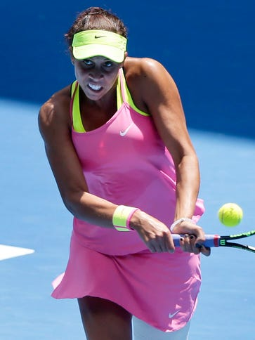 Madison Keys of the U.S. in action against Venus Williams