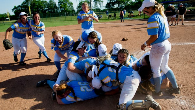 Gibbs players storm the field after defeating Powell 7-5 during a Divsion 1 Class AAA softball final match game between Gibbs and Powell at the 2017 TSSAA Spring Fling state championships at the Murfreesboro Sports Complex & McKnight Fields in Murfreesboro, Tennessee on Friday, May 26, 2017.