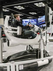 Brandon Ray tries out the Ford Performance Simulator
