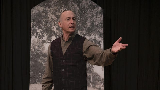 """Greg Gathers of Pontine Theatre performs the poem """"The Code"""" during """"Robert Frost's New Hamsphire,"""" which begins livestreaming Friday, Oct. 16."""