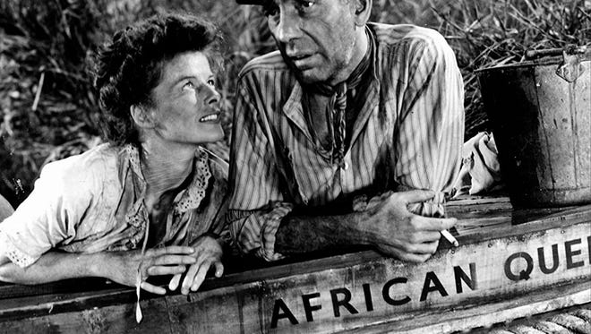 "Katharine Hepburn is the sister of a missionary killed in Africa and Humphrey Bogart a steamer captain whose lives intersect in ""The African Queen,"" the March offering in the Paramount Film Series."