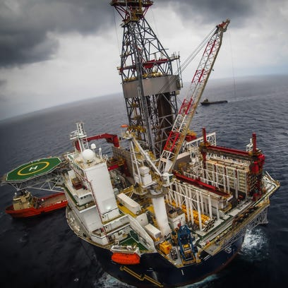 Offshore oil drilling rig or platform, aerial view,