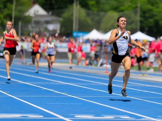 Sydney Milani of Southeast Polk wins the girls 4A 400 meter dash during the Iowa State Track and Field Championship at Drake Stadium Thursday, May 17, 2018.