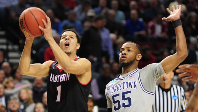 March 19, 2015: Eastern Washington Eagles guard Tyler Harvey (1) shoots the basketball against Georgetown Hoyas guard Jabril Trawick (55) during the first half in the second round of the 2015 NCAA Tournament at Moda Center.