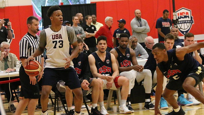 New Albany High School senior shooting guard Romeo Langford at Team USA training camp on Saturday, June 24,2017.