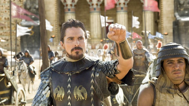 """Christian Bale, left, wages an ancient guerrilla war against the Egyptians as Hebrew leader Moses in """"Exodus: Gods and Kings."""""""