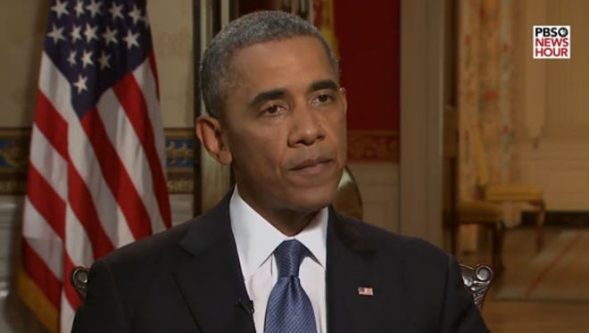 A screen shot of President Obama taken from an interview with PBS' 'Newshour'.