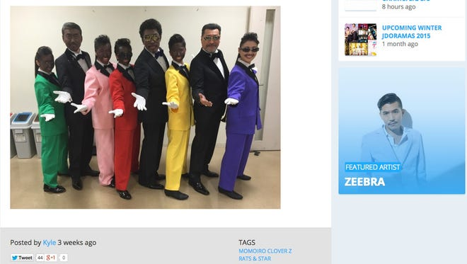 "All-girl pop group Momoiro Clover Z and doo-wop group Rats & Star are seen in a backstage photo posted on Twitter ahead of their March 7 appearance on ""Music Fair."""