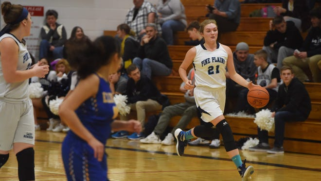 Pine Plains' Isabella Starzyk, right, takes the ball down the court during Tuesday's game against Ellenville.