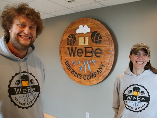 Co-owners and husband and wife team Daniel Lieberg and Colleen Lieberg at WeBe Brewing in Geneva, Ontario County, Thursday, March 8, 2018.
