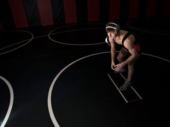 Kingsway wrestler Quinn Kinner is the Courier Post Wrestler of the Year. He's seen here Tuesday, March 13, 2018 in Clarksboro, N.J.