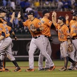 The Astros celebrate Thursday night after their victory over the Royals in Game 1 of their American League Division Series.