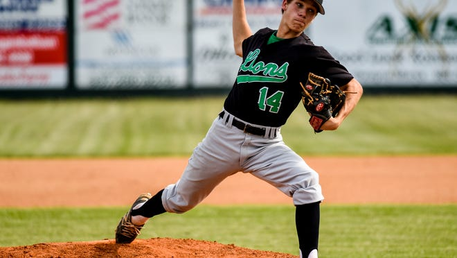 Lafayette High pitcher Bo Hardin (14) is the Lions' expected starting pitcher in Tuesday's playoff opener.