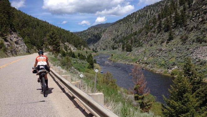 A rider pedaling through Colorado.