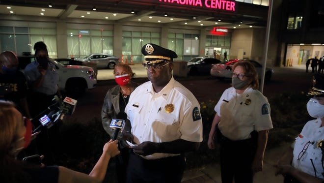 St. Louis Metropolitan Police Chief John Hayden talks to the media Sept.13 outside the Barnes-Jewish Hospital emergency room about the status of an officer that was shot in the shoulder during a pursuit. Hayden says he hopes a new state law relaxing residency requirements will help him recruit officers.