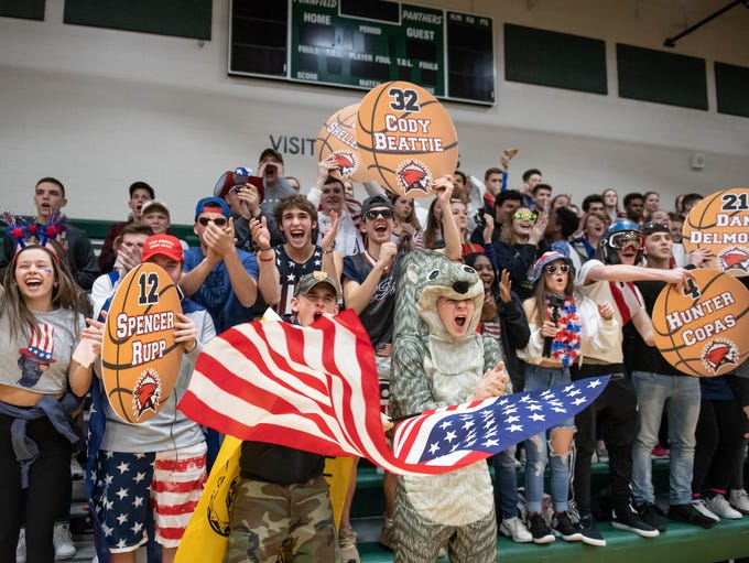 Marshall students support there team during district