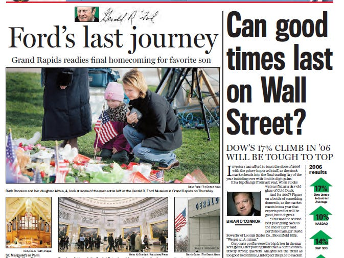 View the front page of The Detroit News each day of the week of December 25, 2006.