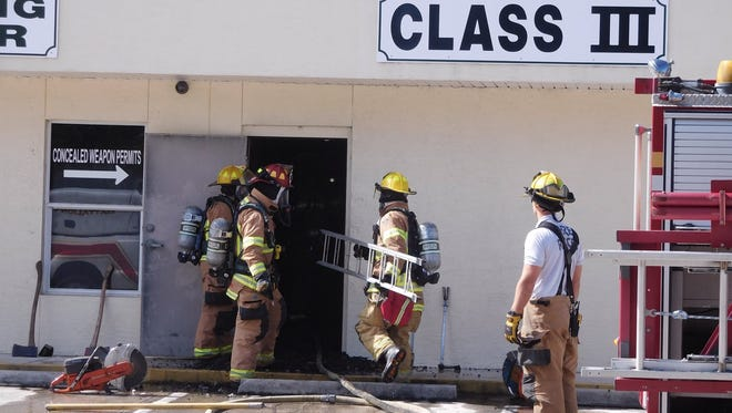 Firefighters found heavy smoke and flames at an indoor gun range in Gifford Nov. 20, 2017.