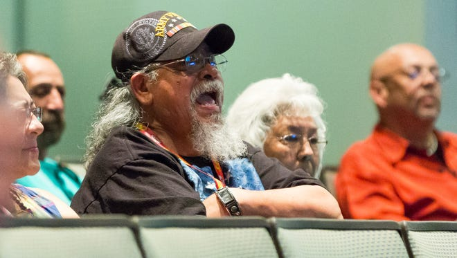 Guillermo Portillo Jr. reacts in the audience on Monday, March 21, 2016, as two tribal groups give presentations on a proposed statement of support by councilors in favor of the Piro-Manso-Tiwa Indian Tribe's attempt to gain federal recognition. Portillo is part of a group that has ancestry linked to the Piro tribe.