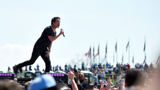 Pat Monahan, of the band Train, performs at the Global Citizen 2015 Earth Day on the National Mall, Saturday, April 18, 2015, in Washington, D.C.