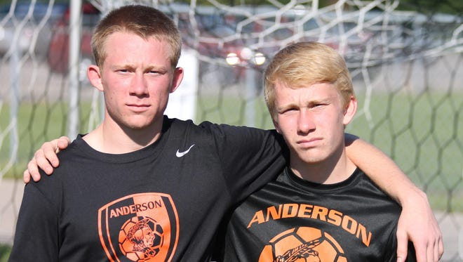 Drew (left) and Adam (right) Mathews are one of four sets of brothers on Anderson's boys soccer team.